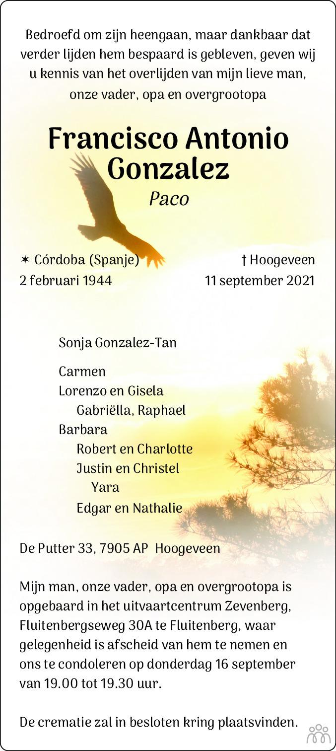 Overlijdensbericht van Fransico Antonio (Paco) Gonzalez in Hoogeveensche Courant
