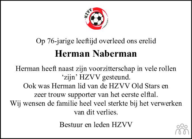 Overlijdensbericht van Herman Naberman in Hoogeveensche Courant