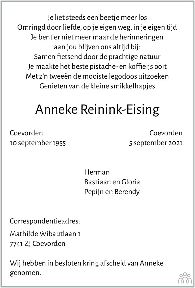 Overlijdensbericht van Anneke Reinink-Eising in Dagblad van het Noorden