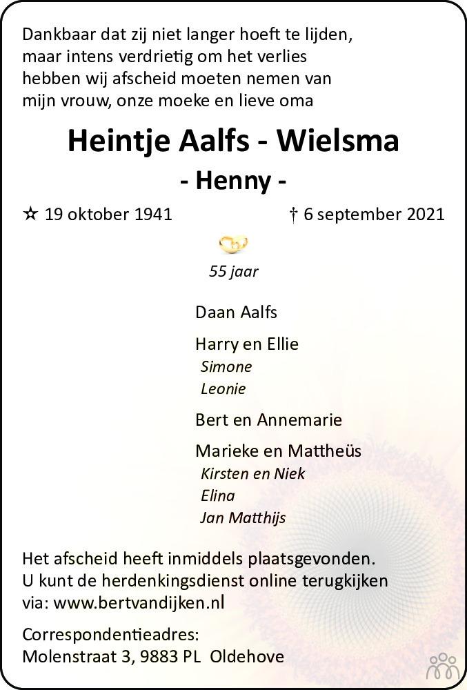 Overlijdensbericht van Henny (Heintje) Aalfs-Wielsma in Westerkwartier