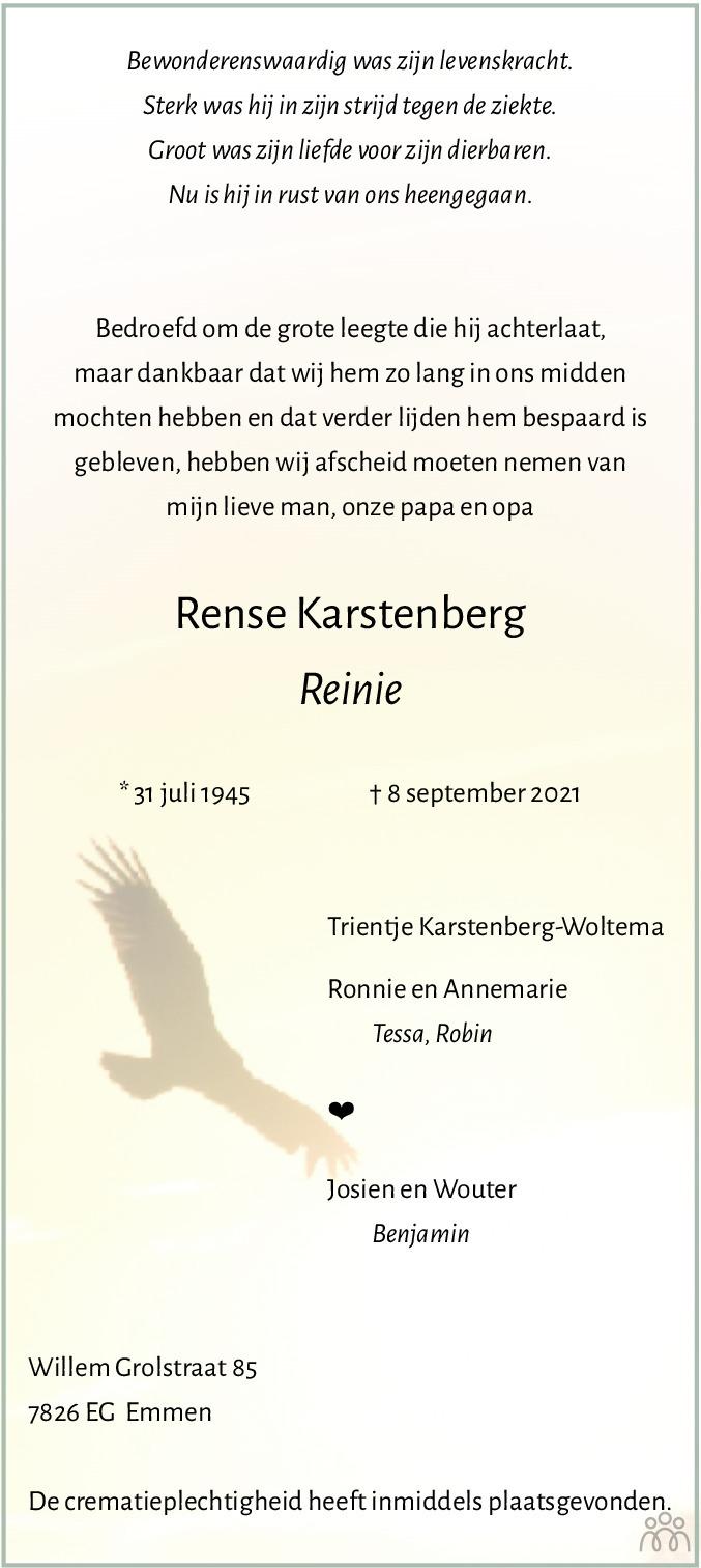Overlijdensbericht van Rense (Reinie) Karstenberg in Emmen Nu