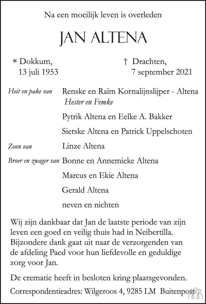 Overlijdensbericht van Jan Altena in Nieuwe Ooststellingwerver