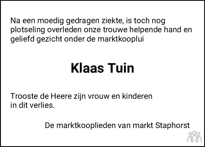 Overlijdensbericht van Klaas Tuin in De Staphorster