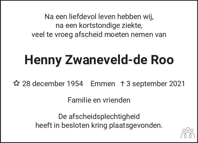 Overlijdensbericht van Henny Zwaneveld-de Roo in Emmen Nu