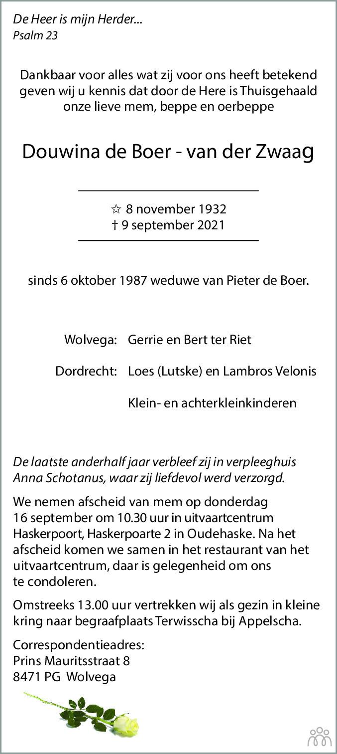 Overlijdensbericht van Douwina de Boer-van der Zwaag in Leeuwarder Courant
