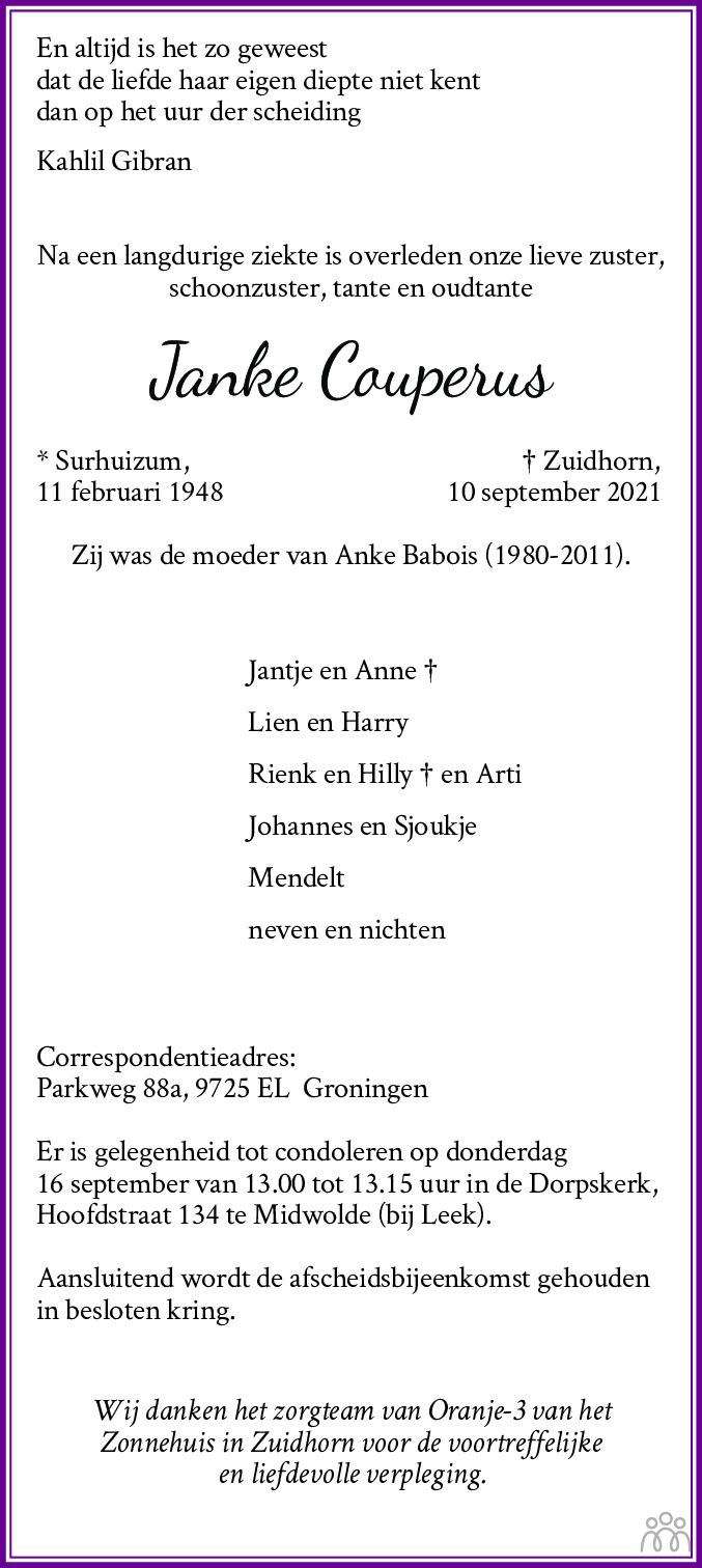 Overlijdensbericht van Janke Couperus in Dagblad van het Noorden