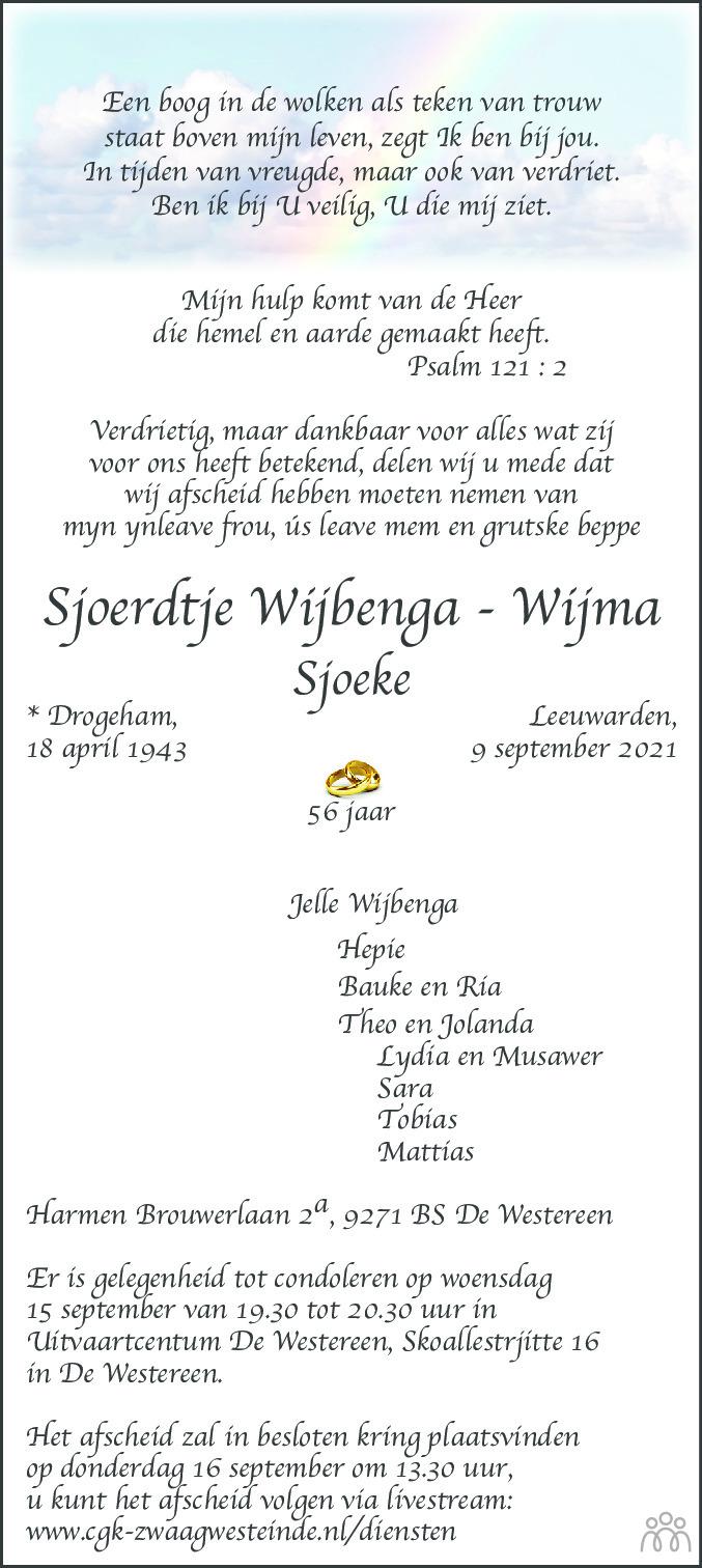 Overlijdensbericht van Sjoerdtje (Sjoeke) Wijbenga-Wijma in Friesch Dagblad