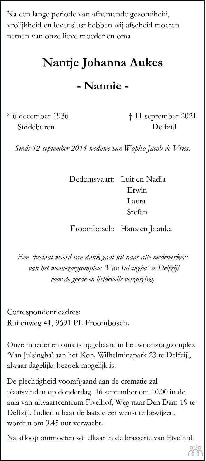 Overlijdensbericht van Nantje Johanna (Nannie) de Vries-Aukes in Dagblad van het Noorden