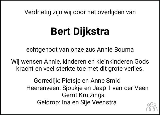 Overlijdensbericht van Egbert (Bert) Dijkstra in Leeuwarder Courant