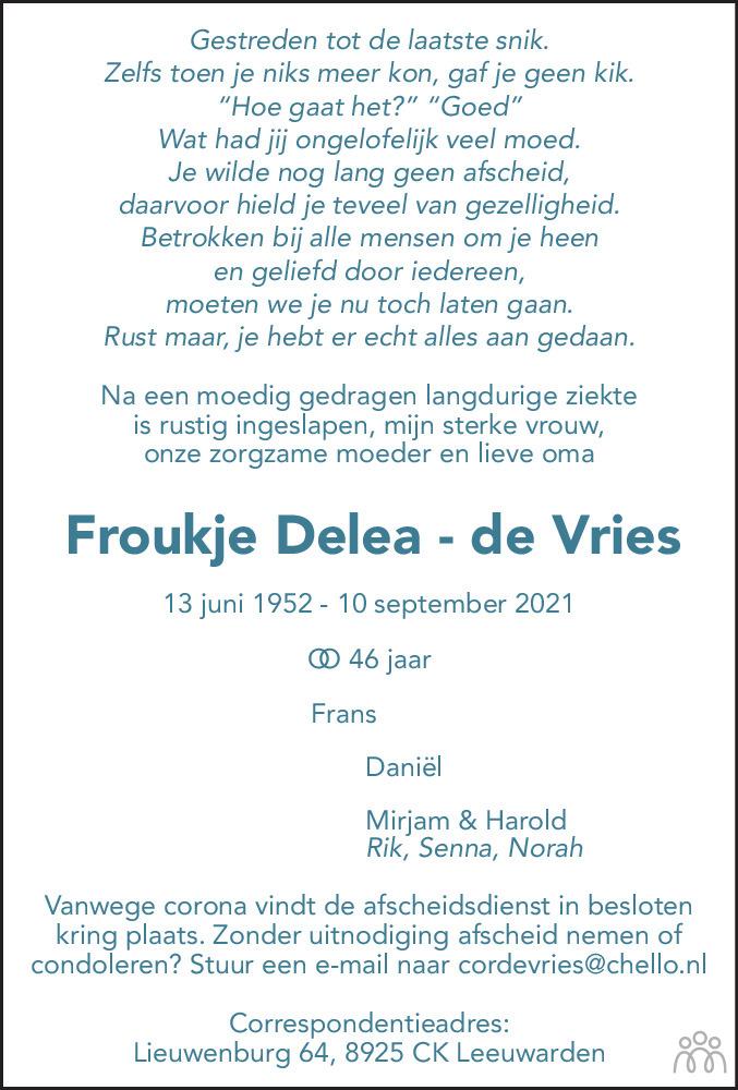 Overlijdensbericht van Froukje Delea-de Vries in Leeuwarder Courant