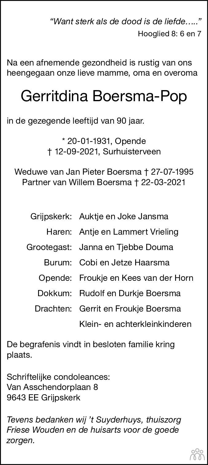Overlijdensbericht van Gerritdina Boersma-Pop in Dagblad van het Noorden