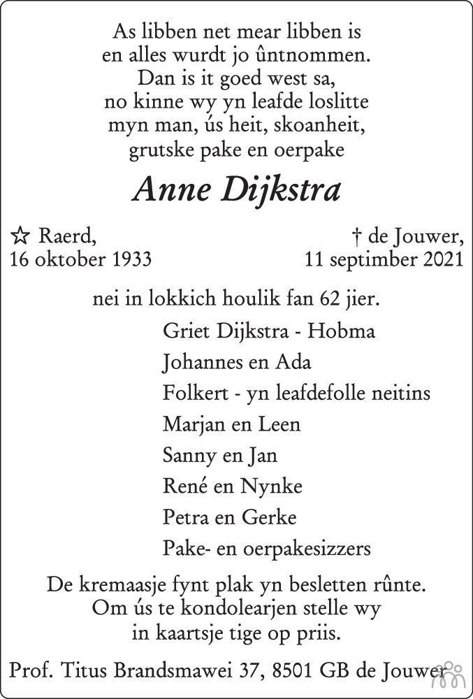 Overlijdensbericht van Anne Dijkstra in Leeuwarder Courant