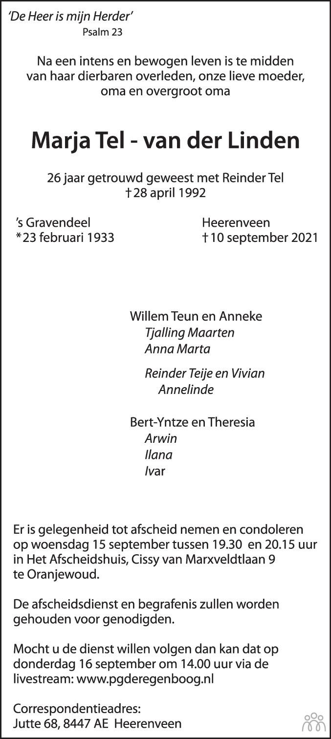 Overlijdensbericht van Marja Tel-van der Linden in Leeuwarder Courant