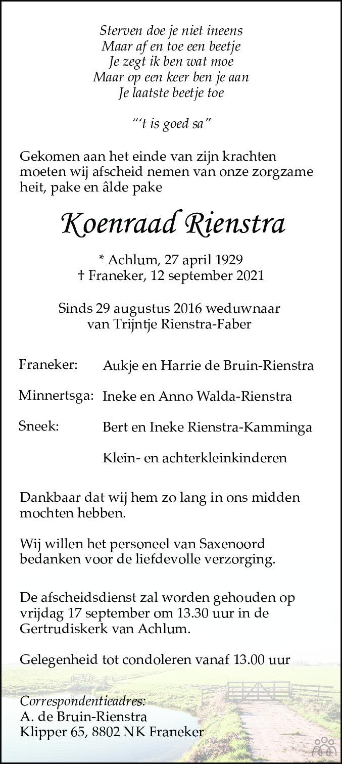 Overlijdensbericht van Koenraad Rienstra in Leeuwarder Courant