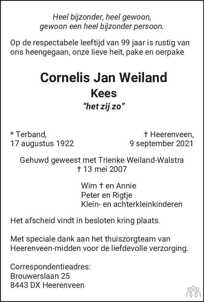 Overlijdensbericht van Cornelis Jan (Kees) Weiland in Leeuwarder Courant