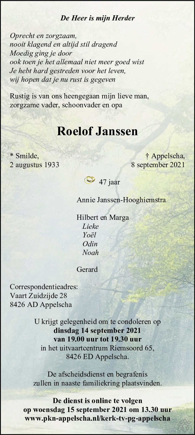 Overlijdensbericht van Roelof Janssen in Nieuwe Ooststellingwerver