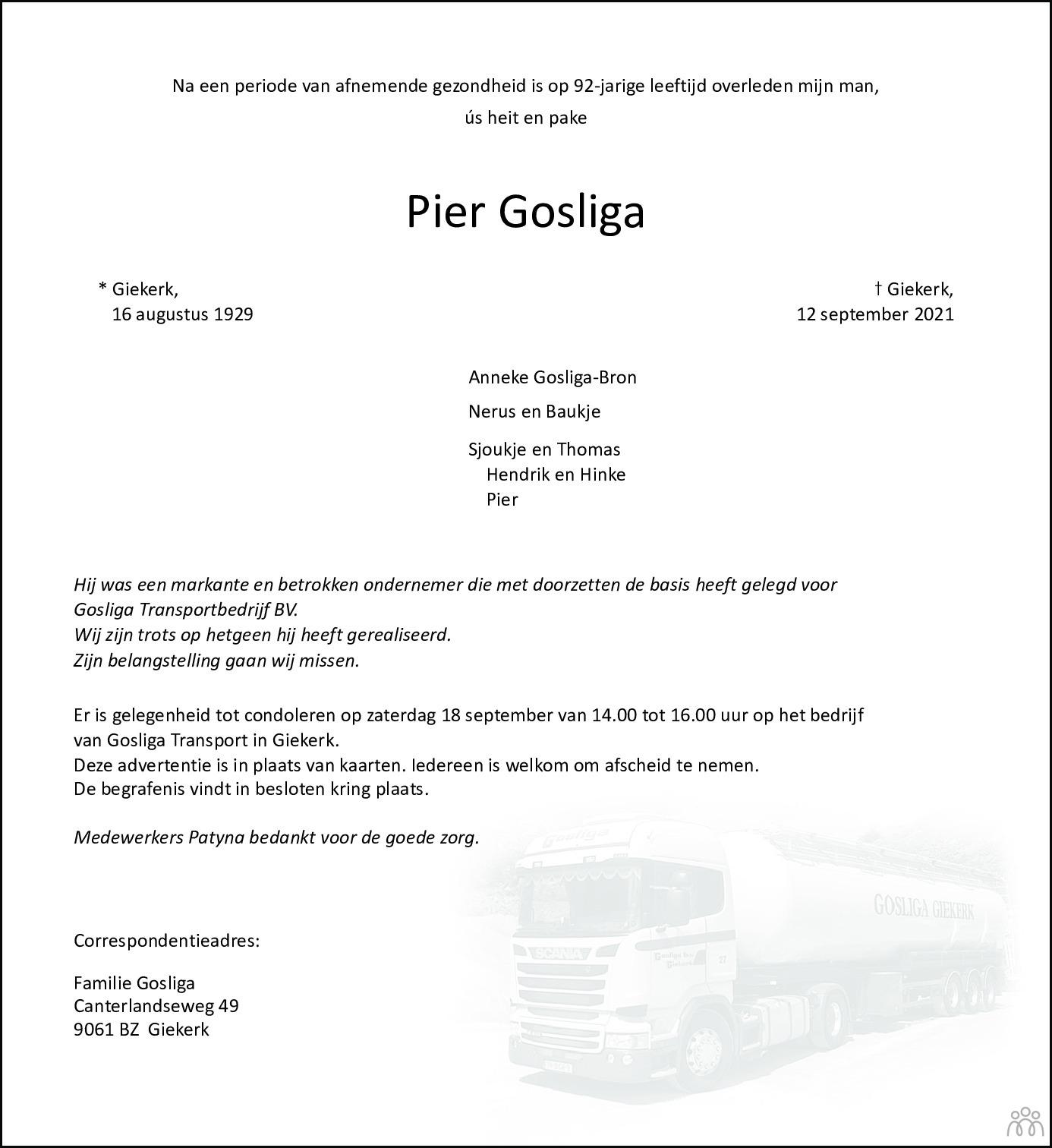 Overlijdensbericht van Pier Gosliga in Leeuwarder Courant