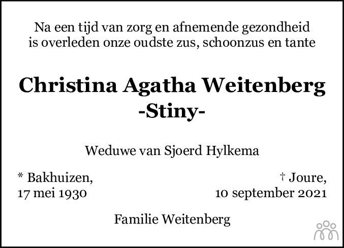 Overlijdensbericht van Christina Agatha (Stiny) Weitenberg in Leeuwarder Courant