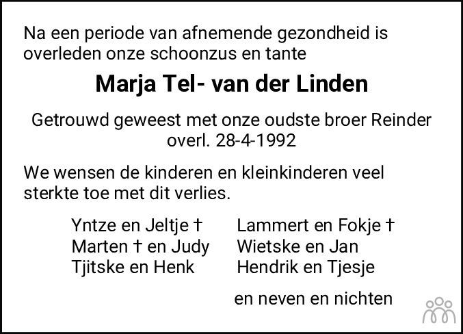 Overlijdensbericht van Marja Tel-van der Linden in Friesch Dagblad
