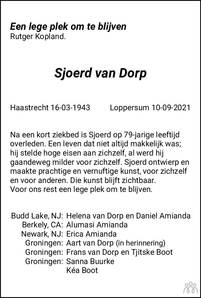 Overlijdensbericht van Sjoerd van Dorp in Dagblad van het Noorden