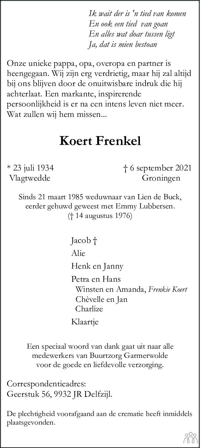 Overlijdensbericht van Koert Frenkel in Eemsbode/Noorderkrant