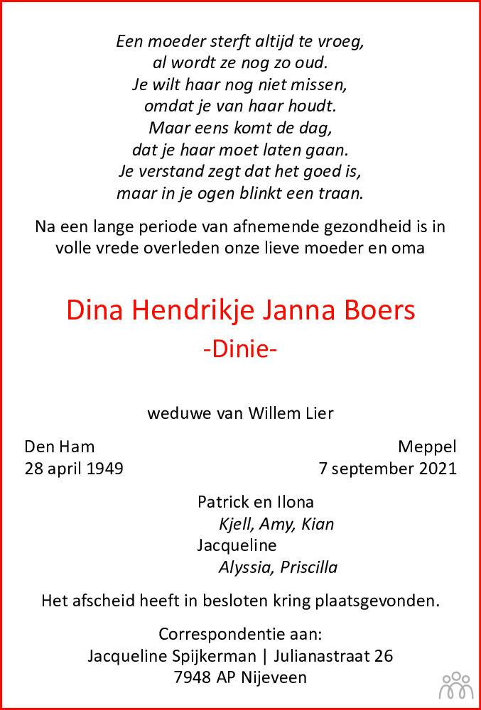 Overlijdensbericht van Dina Hendrikje Janna (Dinie) Boers in Westervelder - Wolder Courant