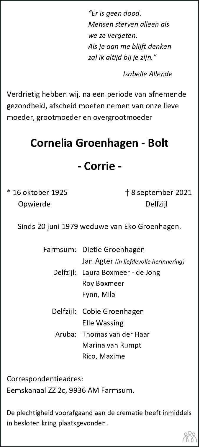 Overlijdensbericht van Cornelia (Corrie) Groenhagen-Bolt in Eemsbode/Noorderkrant