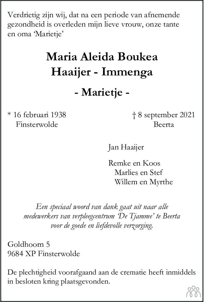 Overlijdensbericht van Maria Aleida Boukea (Marietje) Haaijer-Immenga in Dagblad van het Noorden
