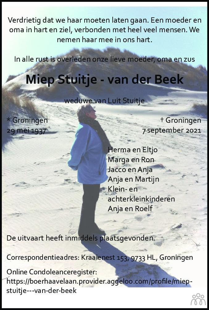 Overlijdensbericht van Mien Stuitje-van der Beek in Groninger Gezinsbode