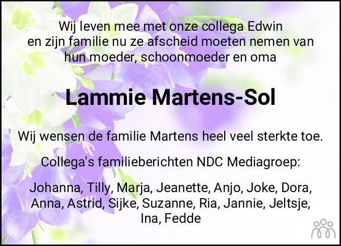 Overlijdensbericht van Lammie Martens-Sol in Meppeler Courant