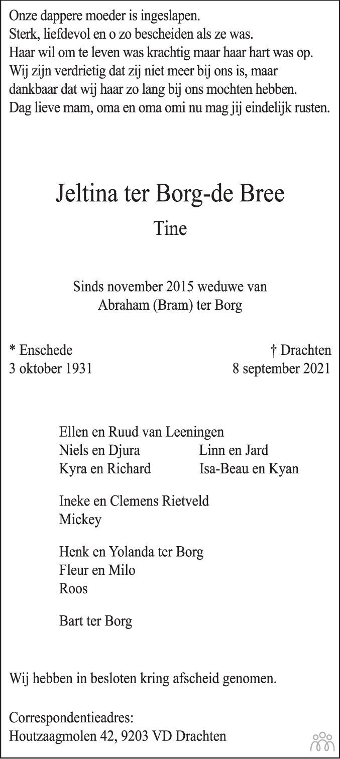 Overlijdensbericht van Jeltina (Tine) ter Borg-de Bree in Leeuwarder Courant