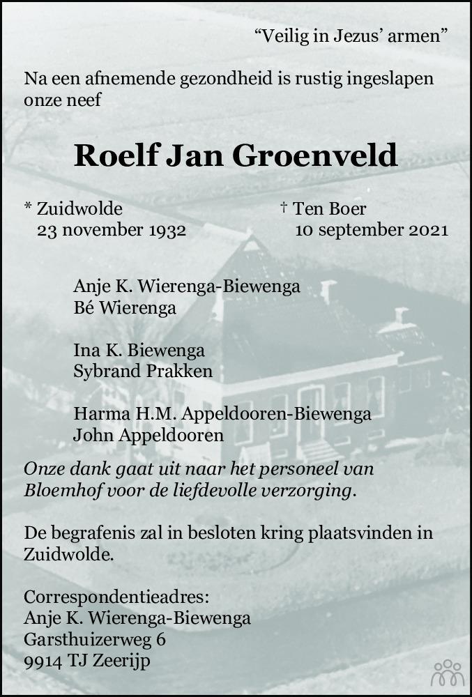 Overlijdensbericht van Roelf Jan Groenveld in Dagblad van het Noorden