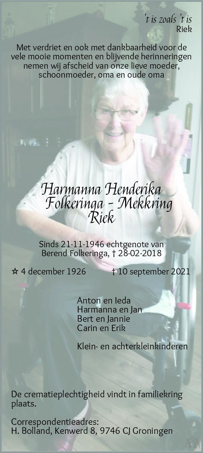 Overlijdensbericht van Harmanna Hendrika (Riek) Folkeringa-Mekkring in Groninger Gezinsbode