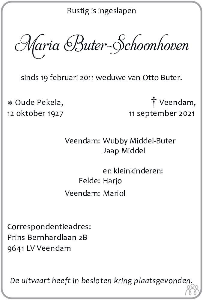 Overlijdensbericht van Maria Buter-Schoonhoven in Dagblad van het Noorden