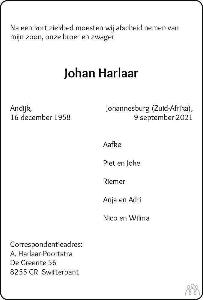 Overlijdensbericht van Johan Harlaar in Flevopost Dronten