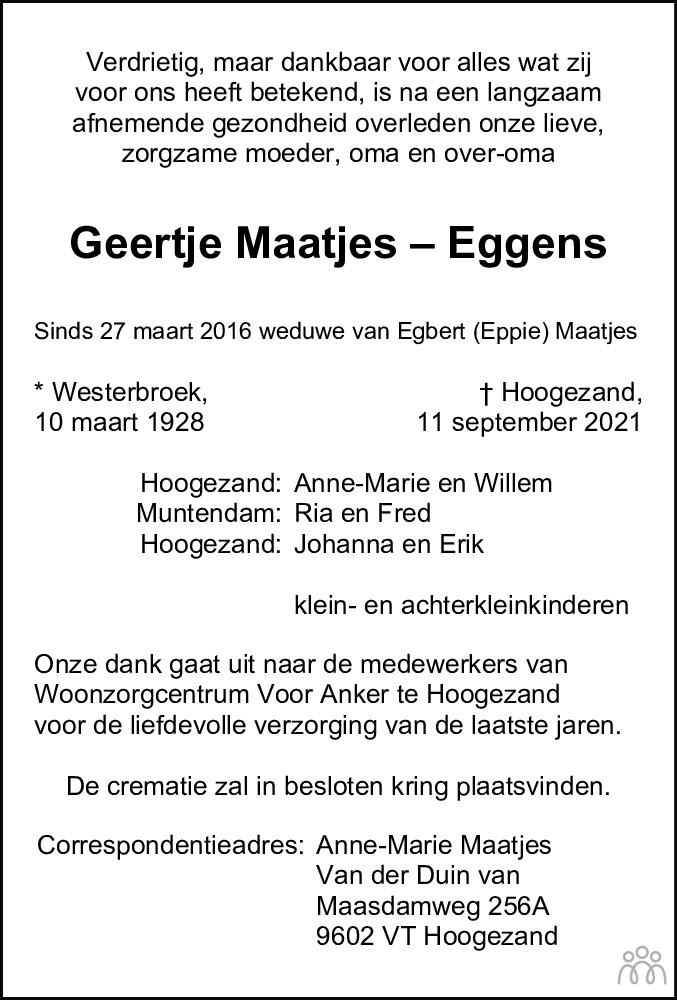 Overlijdensbericht van Geertje Maatjes-Eggens in Dagblad van het Noorden