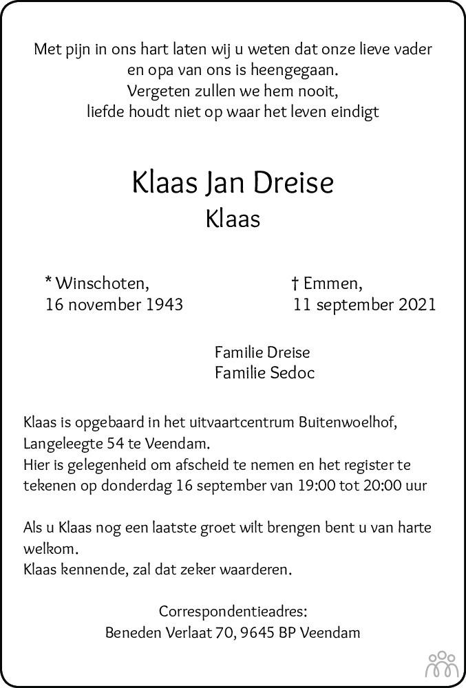 Overlijdensbericht van Klaas Jan Dreise in Dagblad van het Noorden