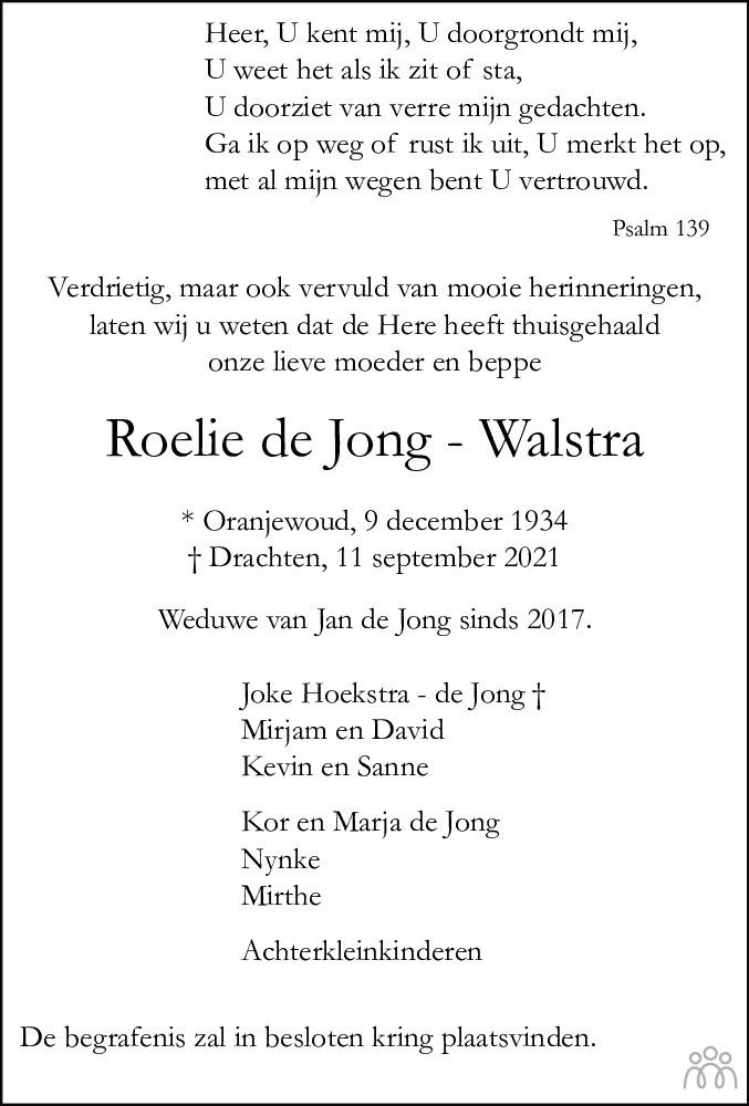 Overlijdensbericht van Roelie de Jong-Walstra in Leeuwarder Courant