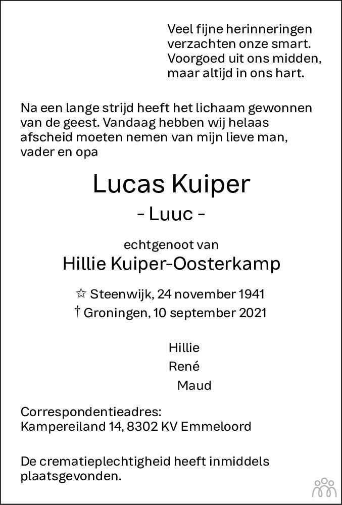 Overlijdensbericht van Lucas (Luuc) Kuiper in Noordoostpolder