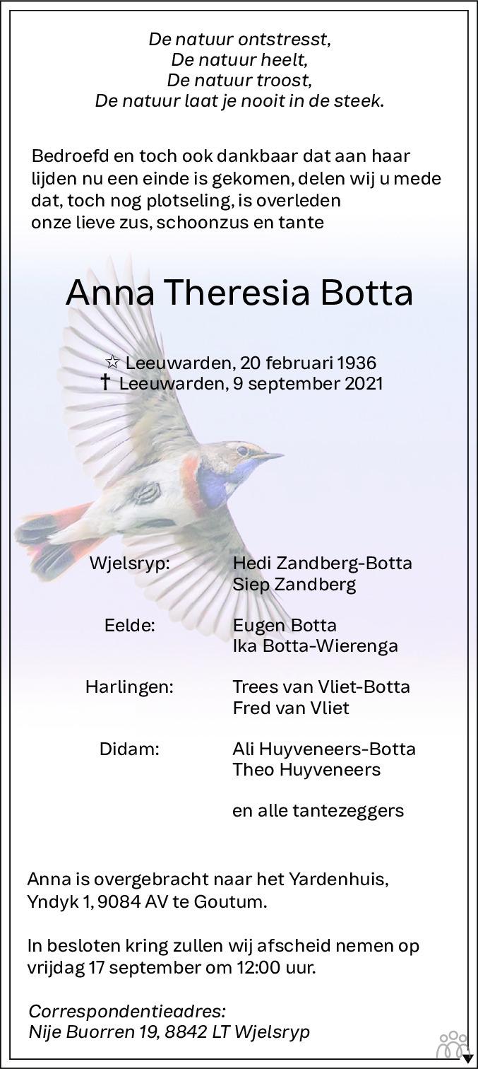 Overlijdensbericht van Anna Theresia Botta in Leeuwarder Courant