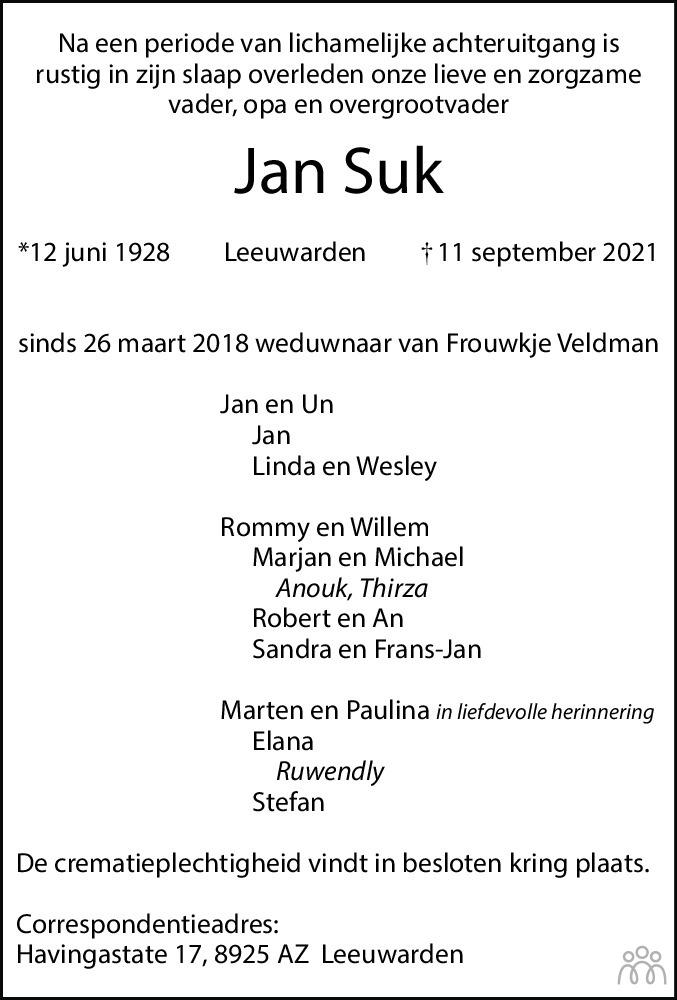 Overlijdensbericht van Jan Suk in Leeuwarder Courant