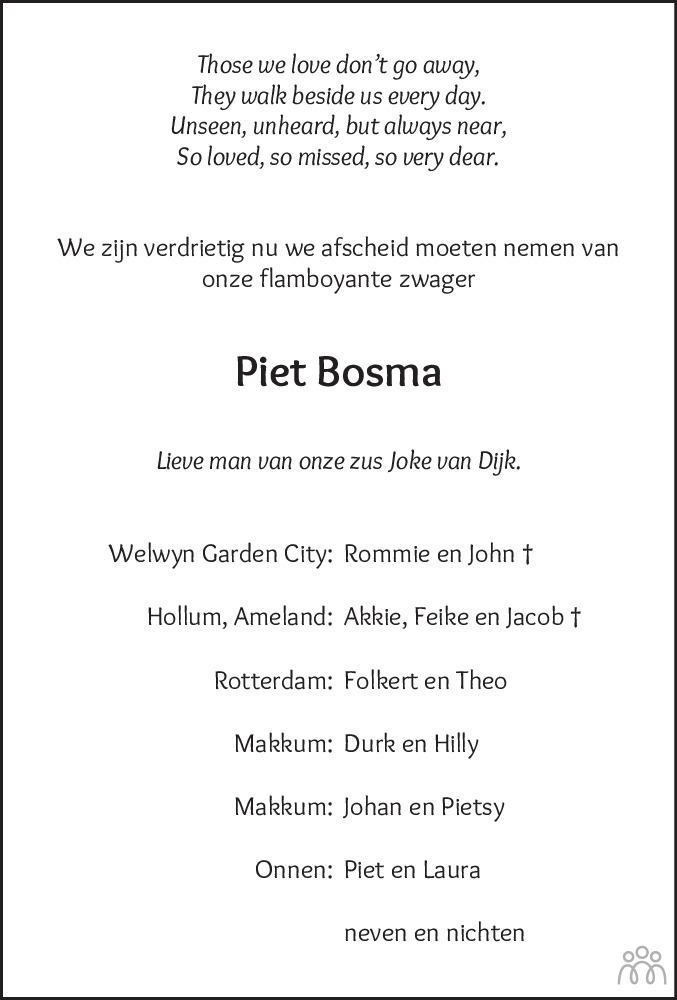 Overlijdensbericht van Piet Bosma in Leeuwarder Courant