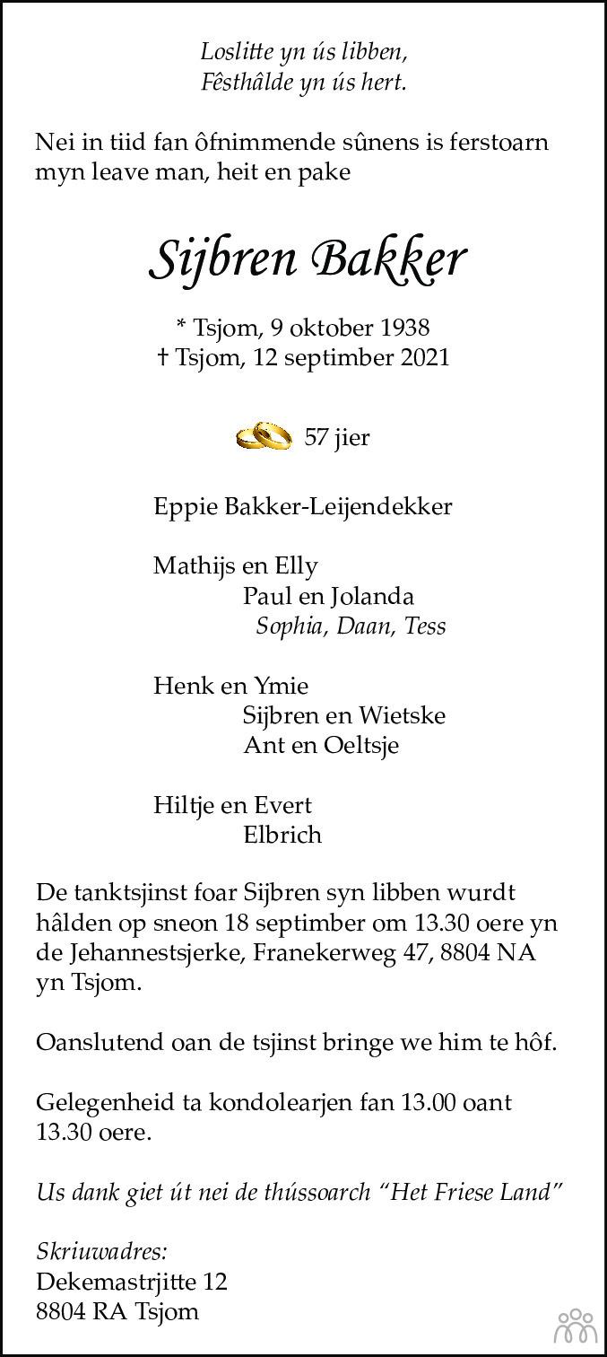 Overlijdensbericht van Sijbren Bakker in Leeuwarder Courant