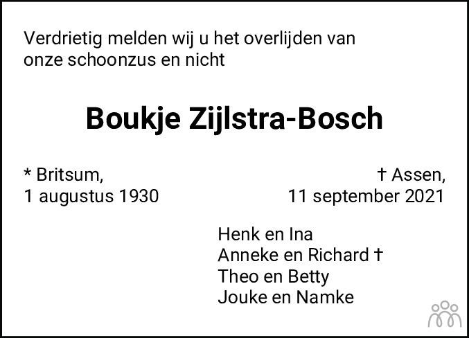 Overlijdensbericht van Boukje Zijlstra-Bosch in Dagblad van het Noorden