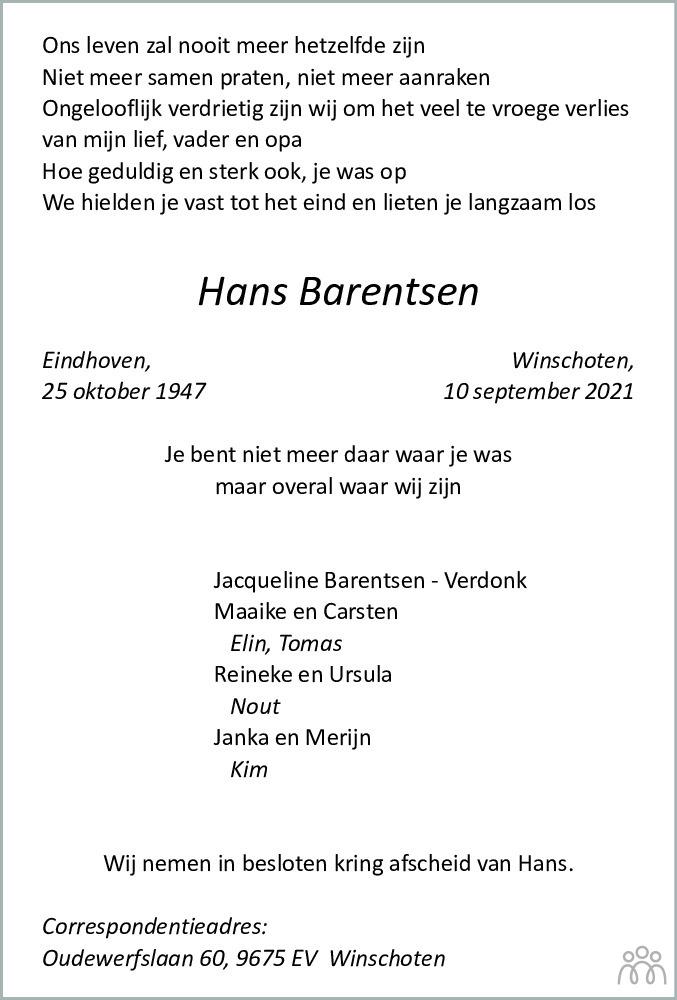 Overlijdensbericht van Hans Barentsen in Dagblad van het Noorden