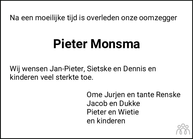 Overlijdensbericht van Pieter Monsma in Franeker Courant