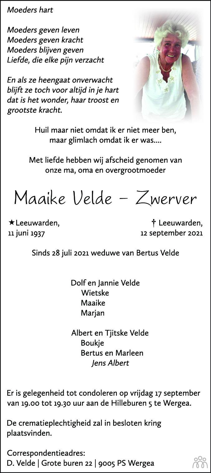 Overlijdensbericht van Maaike Velde-Zwerver in Leeuwarder Courant