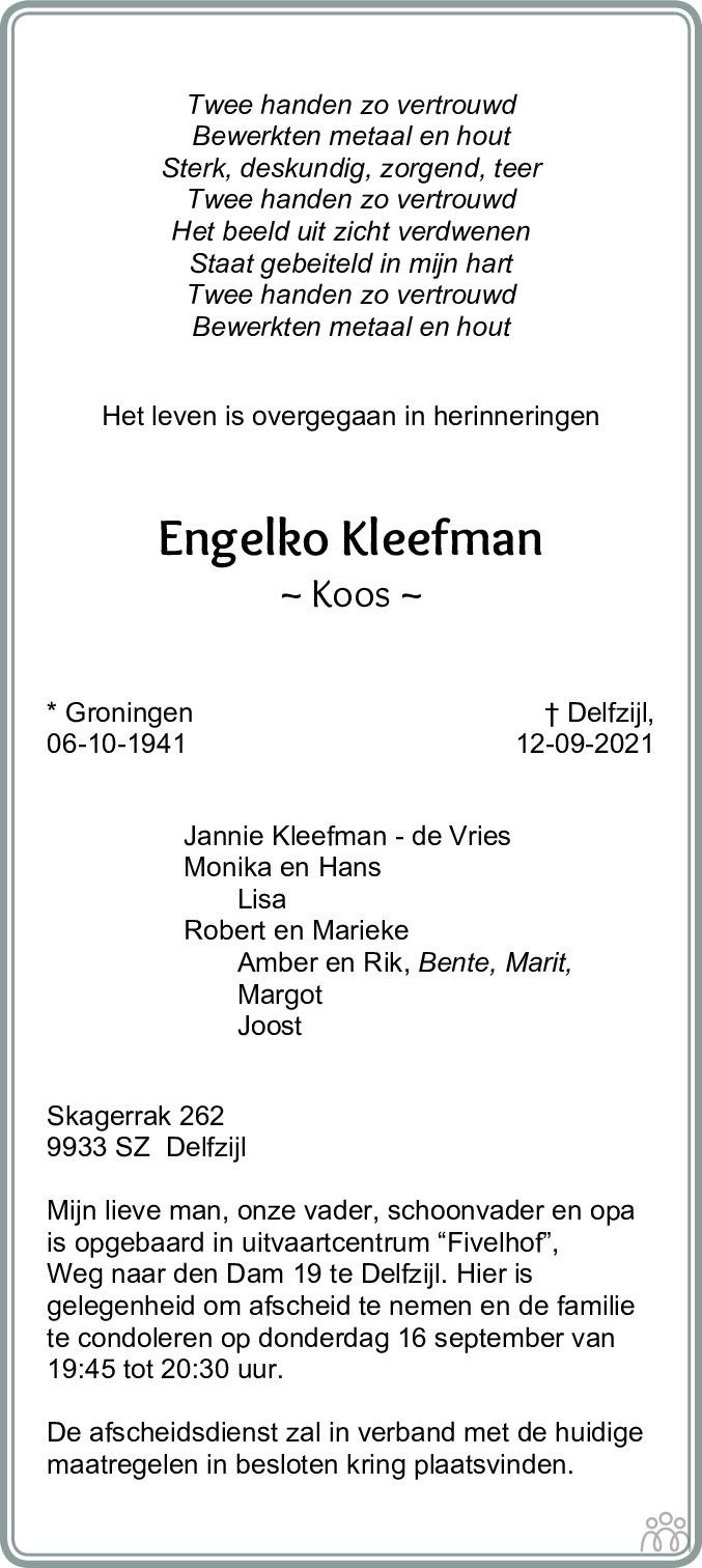 Overlijdensbericht van Engelko (Koos) Kleefman in Dagblad van het Noorden