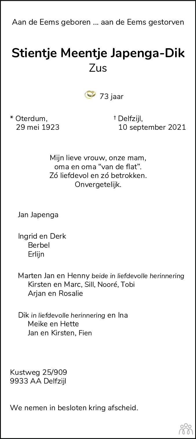 Overlijdensbericht van Stientje Meentje (Zus) Japenga-Dik in Dagblad van het Noorden