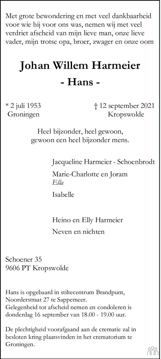 Overlijdensbericht van Johan Willem (Hans) Harmeier in Dagblad van het Noorden